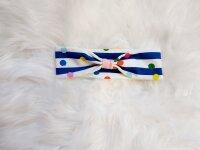 Haarband blau/weiß gestreift mit Punkten