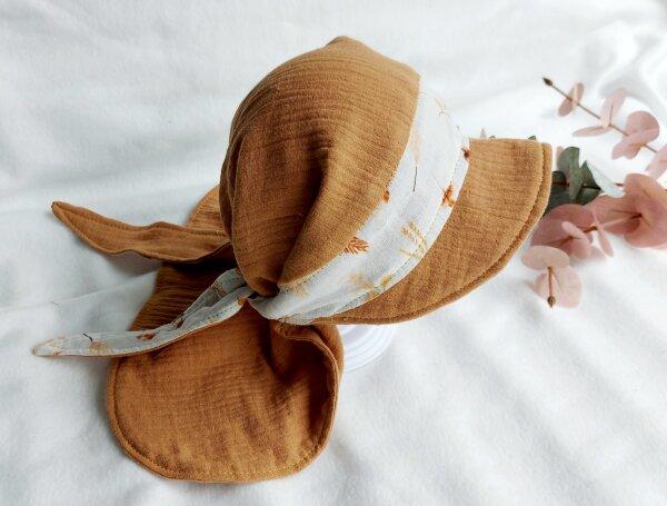 Grroße Bandana-Kappe senf, KU: 40-56 cm