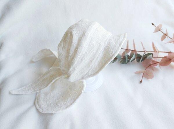 Grroße Bandana-Kappe weiß Lochmuster, KU: 40-56 cm